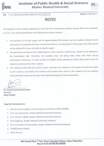 Announcement of the Final Term Examination Session Spring 2019 and instructions for the students