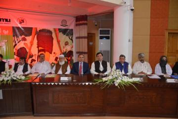 02.Secratary Health KP Dr Faruq Jamil and VC KMU Dr Arshad javaid along with others sitting on stage during Polio Agahi Seminar organized by KMU and PHA1562666184.JPG