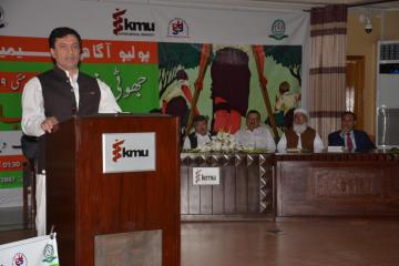 03.Secratary Health KP Dr Faruq Jamil talking to Polio Agahi Seminar organized by KMU and PHA, VC KMU Dr Arshad Javaid along with others also sitting on stage1562666184.JPG
